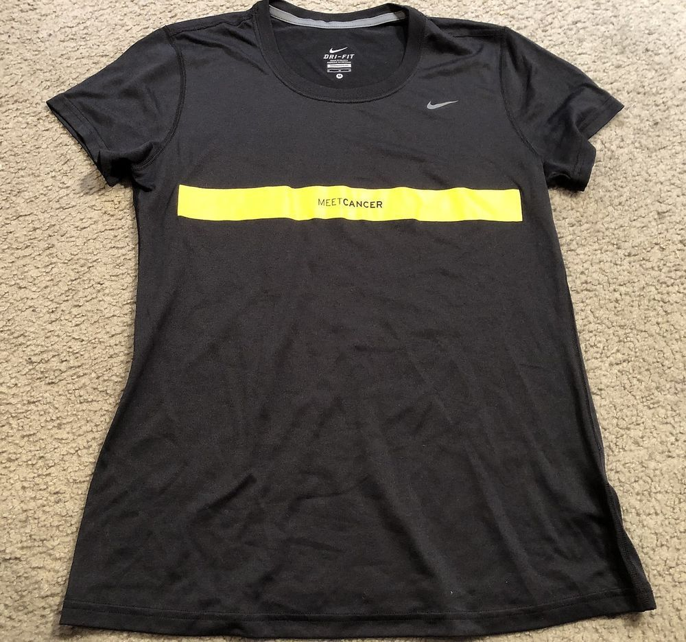 ce39a95a1e67f NIKE driFIT Black Yellow Athletic crossFIT Running Top Shirt womens ...