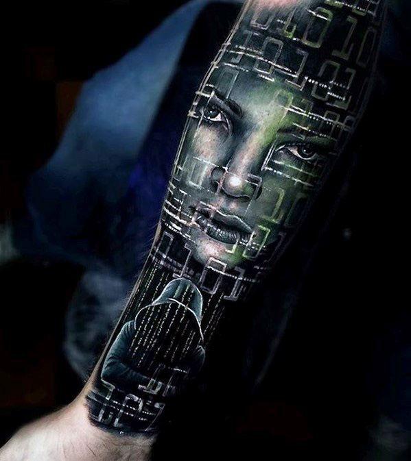 e236e6ef1 Cyber Themed Forearm Sleeve Great Mens Tattoo Designs | Creative ...