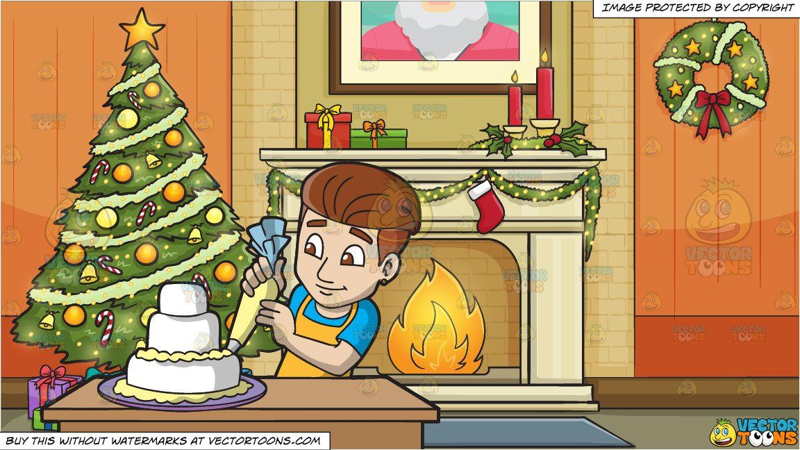 A Man Decorating A Wedding Cake And Living Room Decorated For The Christmas Holidays Background Holiday Background Green Christmas Tree Wedding Cakes