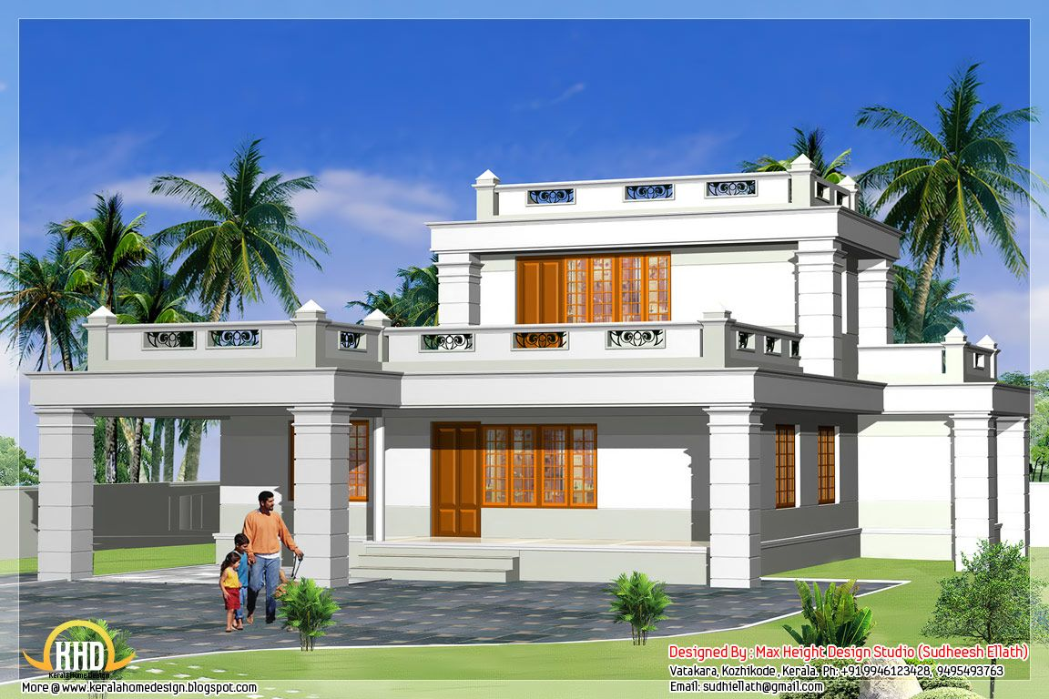 5 beautiful indian house elevations kerala home design and for Small villa plans in kerala