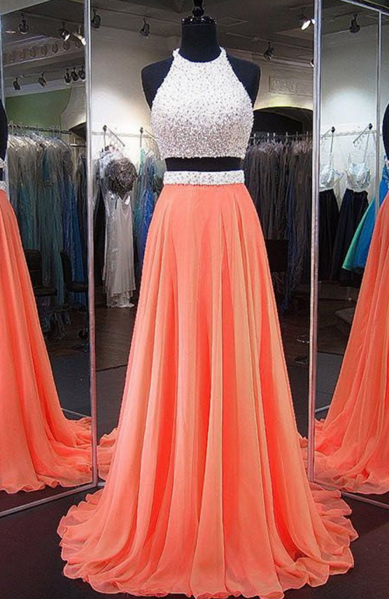 Coral 2 Pieces Prom Dress Orange Prom Dresses Backless Prom Dresses Orange Homecoming Dresses