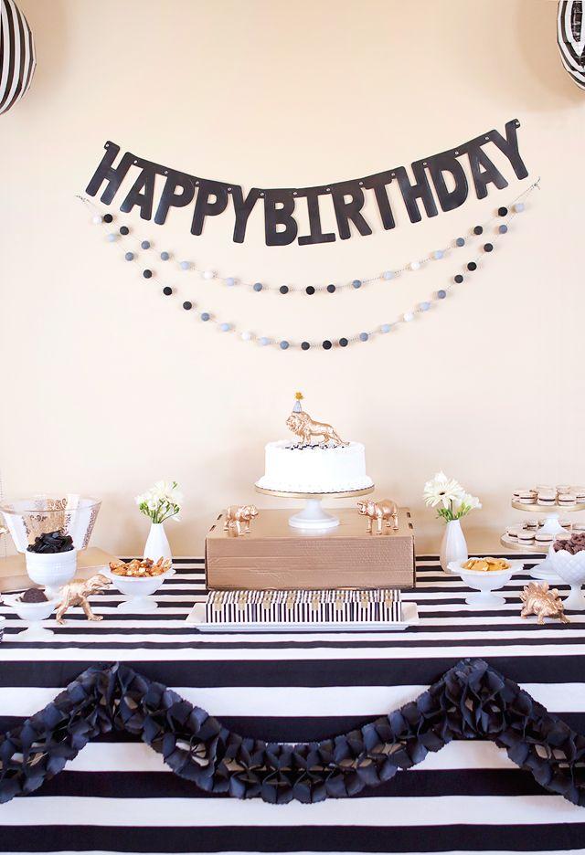 Black White Gold Birthday Party 40th Birthday Party