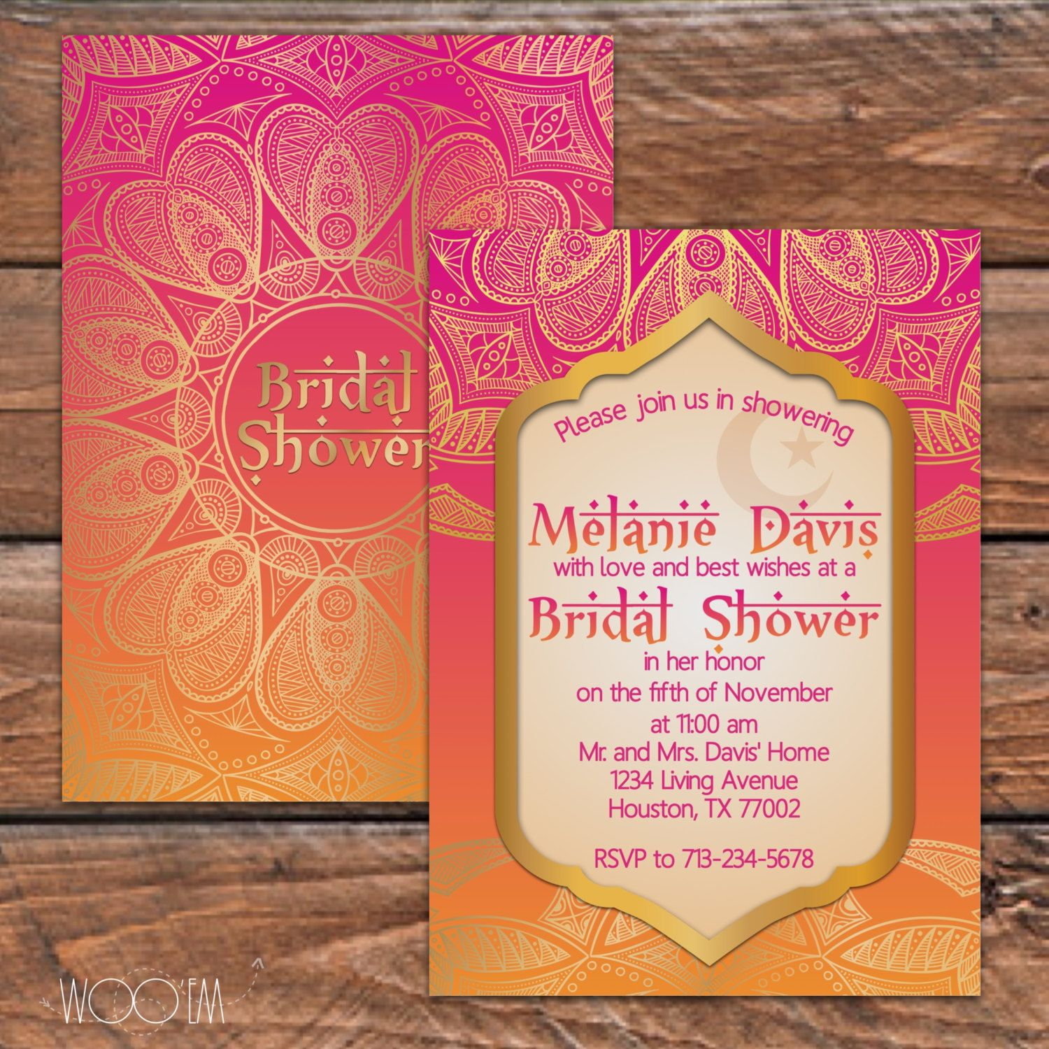 Moroccan Themed Bridal Shower Printable Set Diy Arabian Inspired Invitation By Wooem On