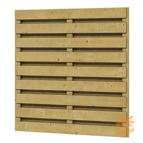 Betonschutting Plankenscherm 17-planks geschaafd grenen recht scherm horizontaal 184 x 180 cm. - Smitco Sierbestrating - Smitco Sierbestrating