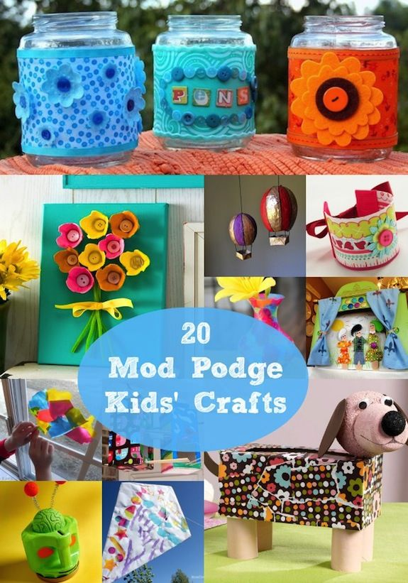 20 easy and simple kids crafts with Mod Podge Craft and Puppet