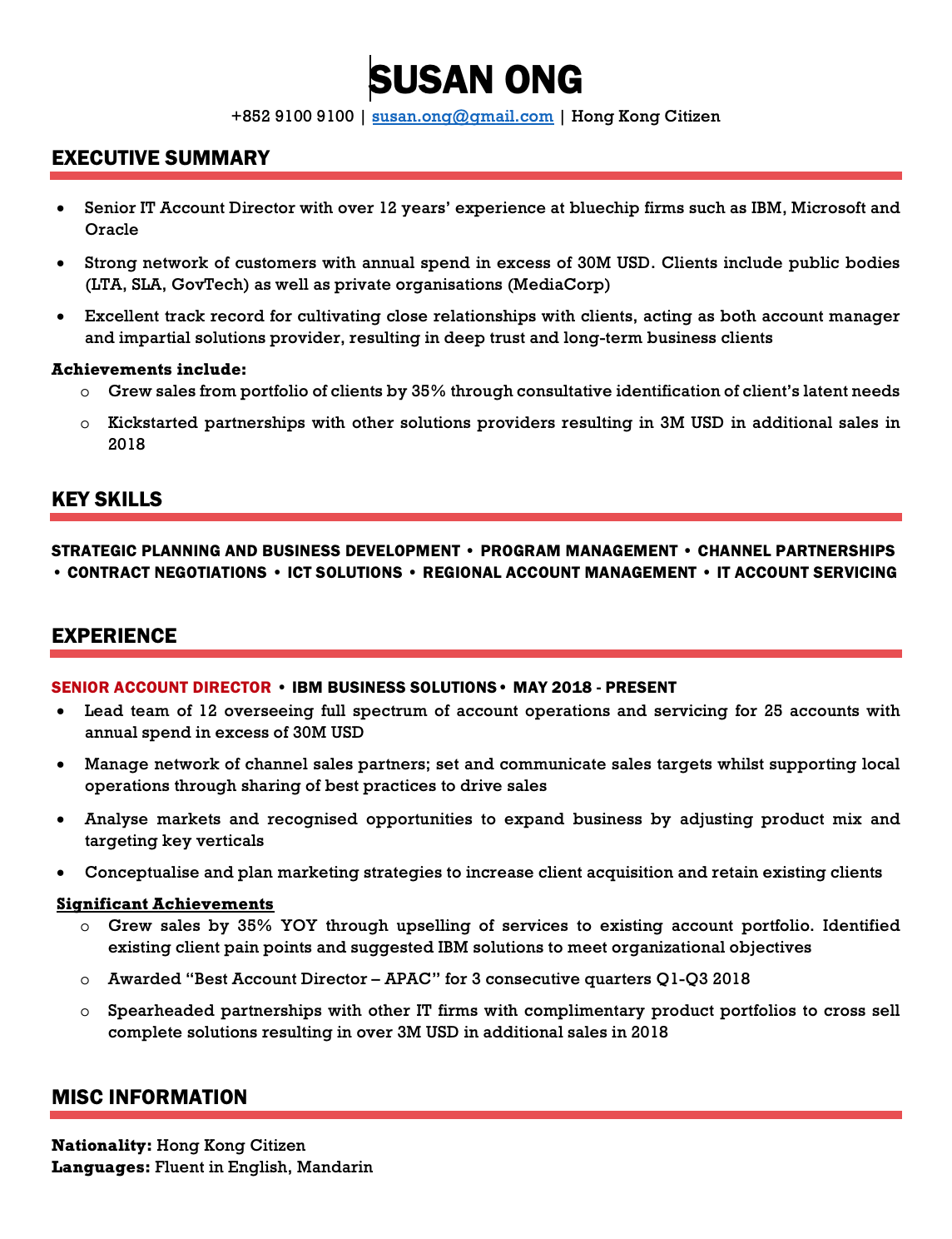 Bold Red CV Template Resume Template Hong Kong in 2020