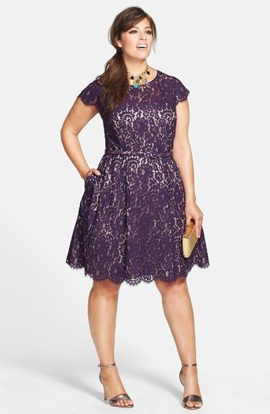 Plus Size Tail Dress Holiday Party Belted Lace Fit Flare