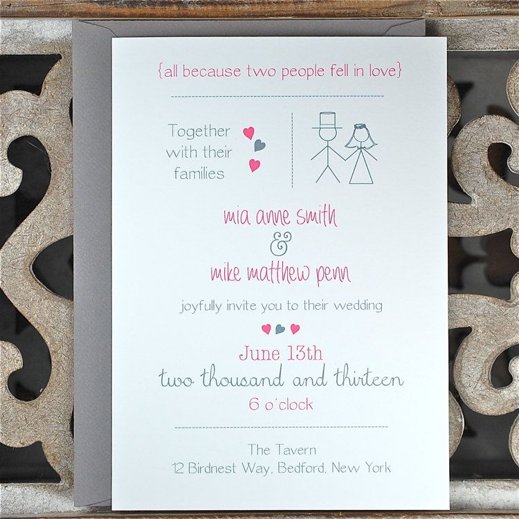 Wedding Invitations . Wedding Invites . Stick Figure
