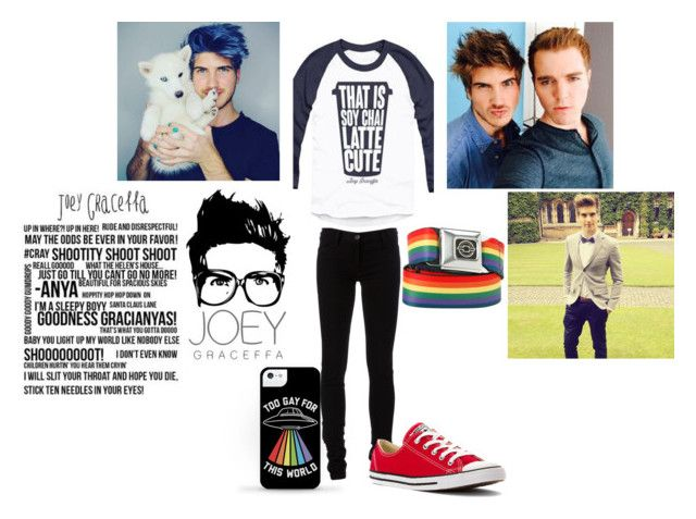 """""""Joey Graceffa"""" by dino-satan666 ❤ liked on Polyvore featuring Ann Demeulemeester, Converse, men's fashion and menswear"""