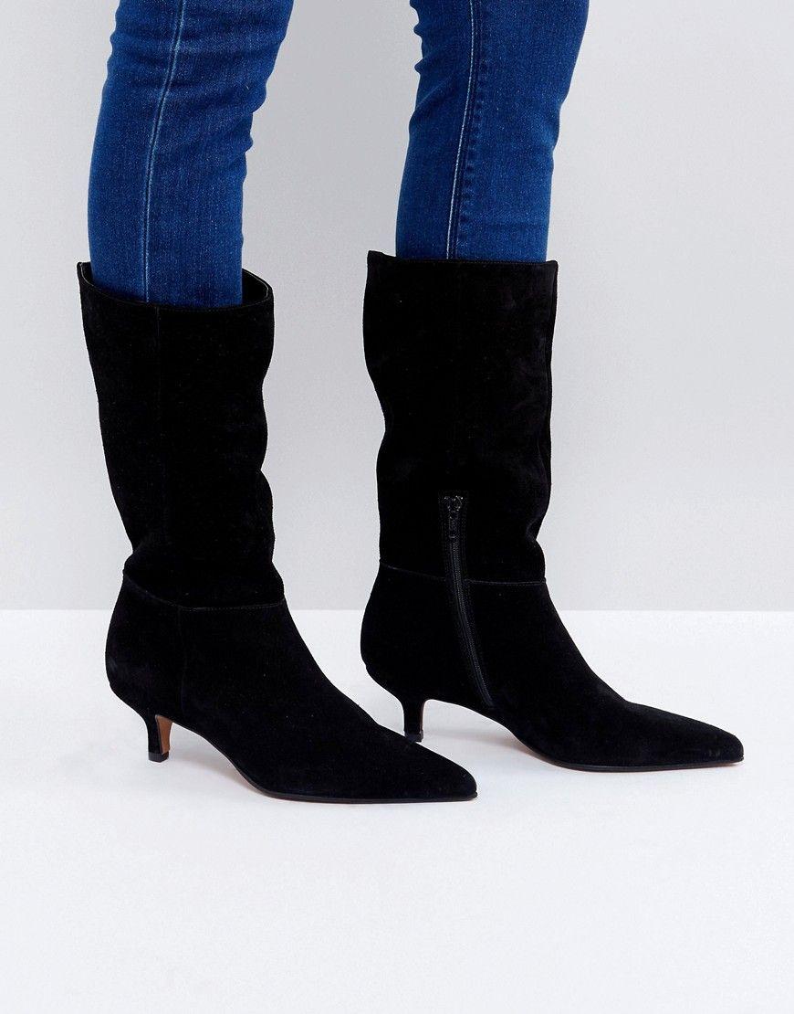 Carlita Suede Kitten Heel Knee Boots Pointed Toe Kitten Heels Boots Kitten Heel Boots Asos Boots