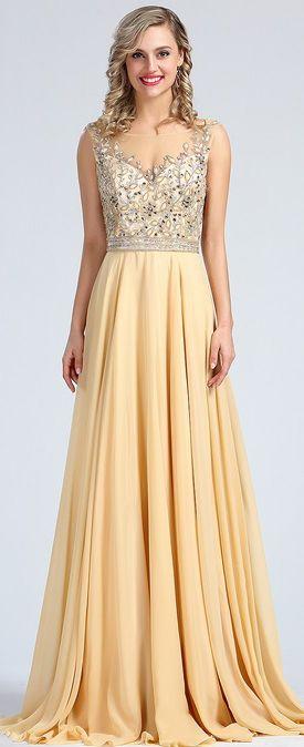 de78547367 Sleeveless Beige Beaded Formal Evening Gown (36173014)