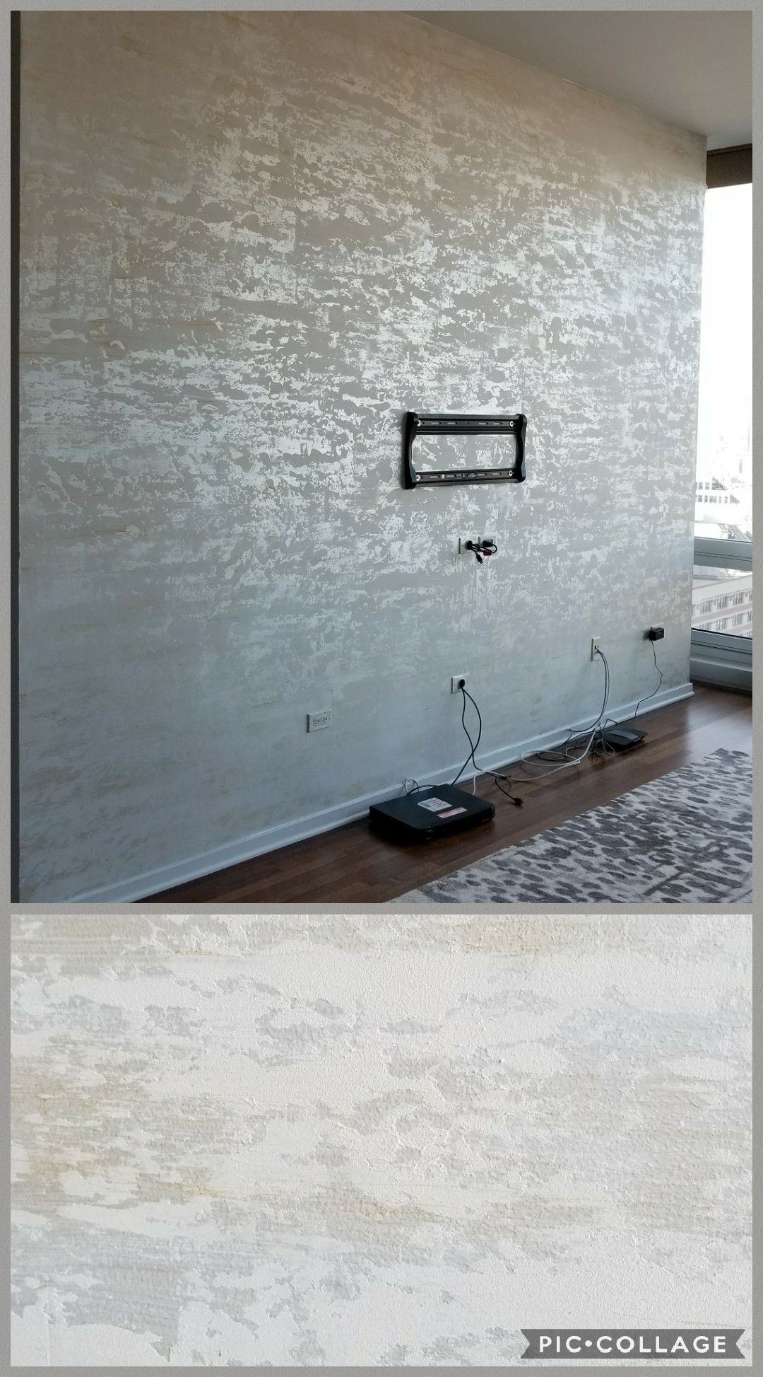 Accent Wall In Off White Textured Lusterstone With Gold