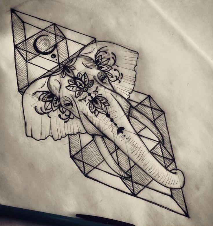 Unique Tattoo Trends - Geometric Elephant Tattoo Drawing