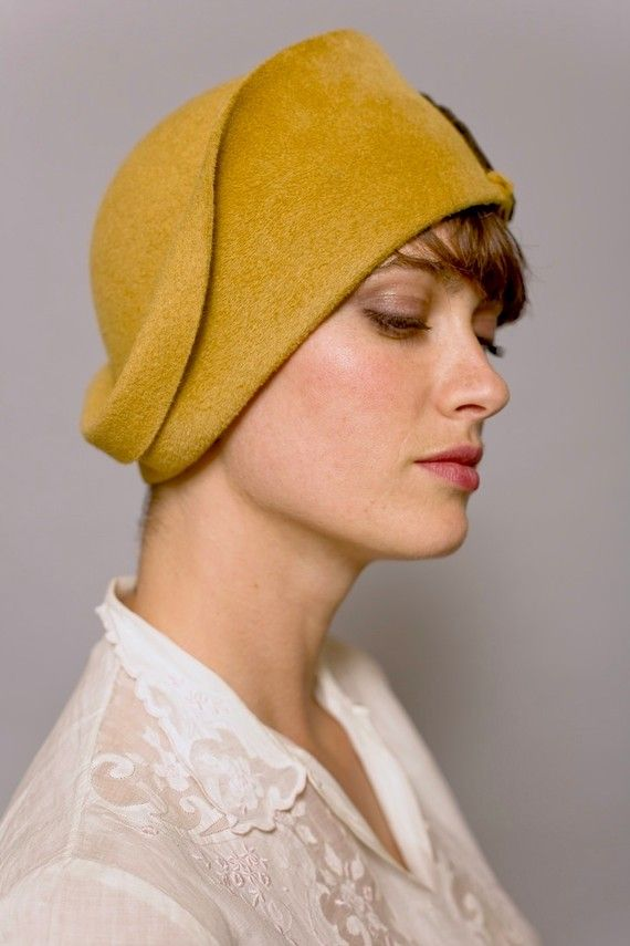 French cloche with velvety brown felt feathermade by yellowfield7, $350.00