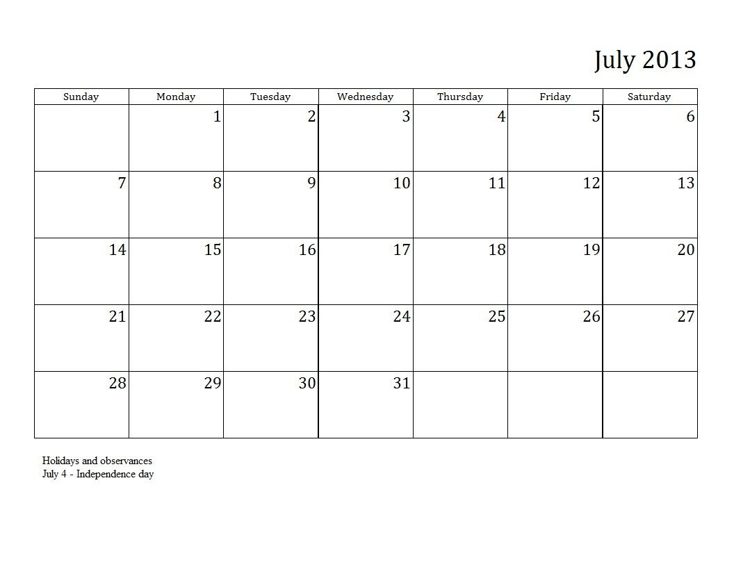 July Calendar With Holidays India