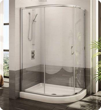 Fleurco Fa483 Signature Capri Half Round Frameless Curved Glass Sliding Shower Door Shower Sliding Glass Door Shower Remodel Glass Shower Doors