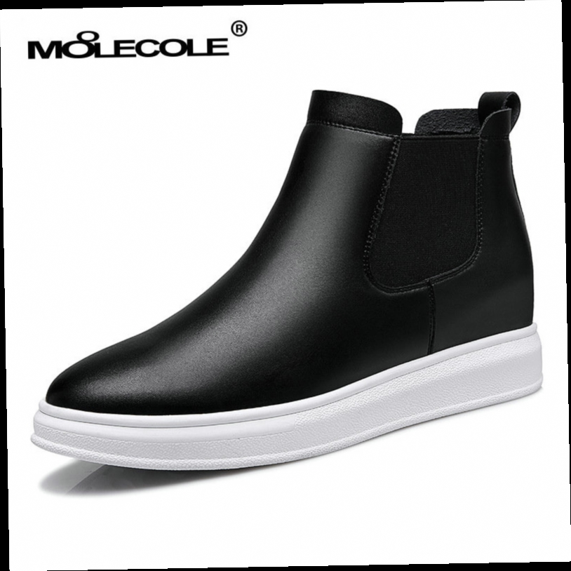 42.50$  Buy now - http://alidz4.worldwells.pw/go.php?t=32720332943 - New 2016 Autumn Winter Women Boots white and black  Wedge Boots Fashion Slip-On Shoes Woman Ankle Platform Boots