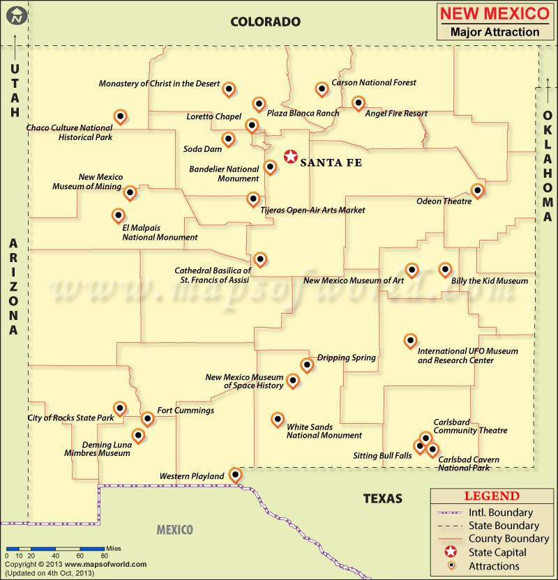 New Mexico Travel Attractions Map Maps Pinterest Mexico - Road map of nm
