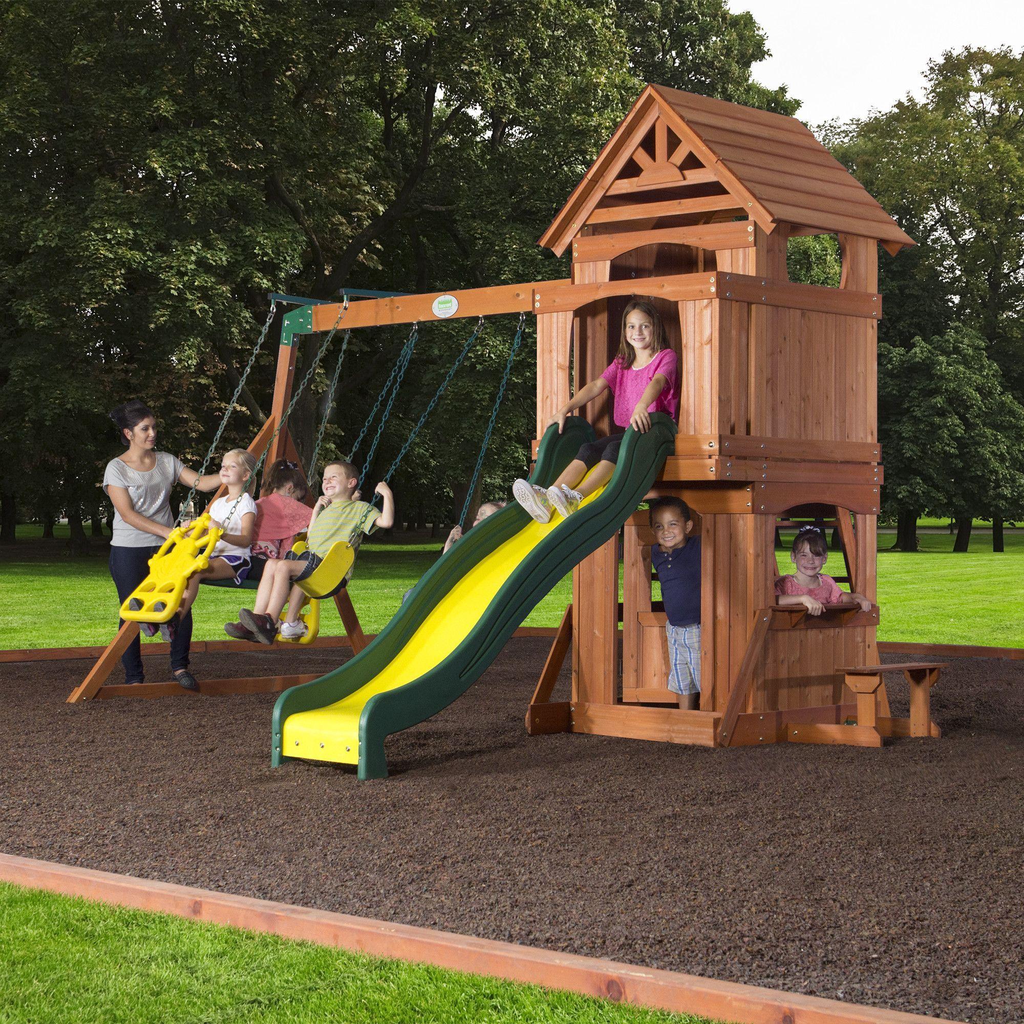 brookfield wooden swing set u2013 backyard discovery backyard