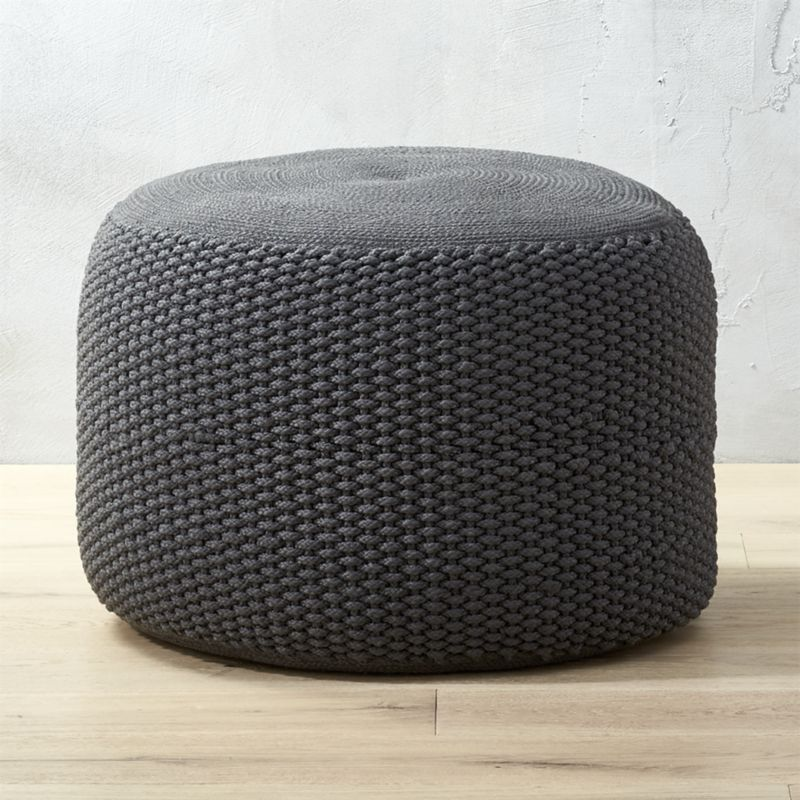 Criss Knit Grey Pouf | Knitted pouf, The deck and Stand up