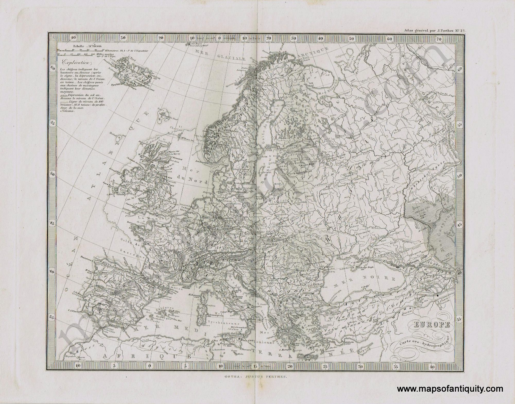 Carte Oro Hydrographique Chine.Europe Carte Oro Hydrographique Antique Maps And Charts