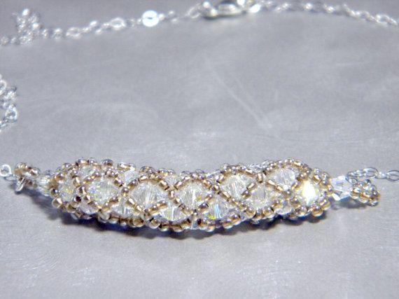 Custom Swarovski Crystal Necklace Beadweaving by WhimsyBeading, $35.00