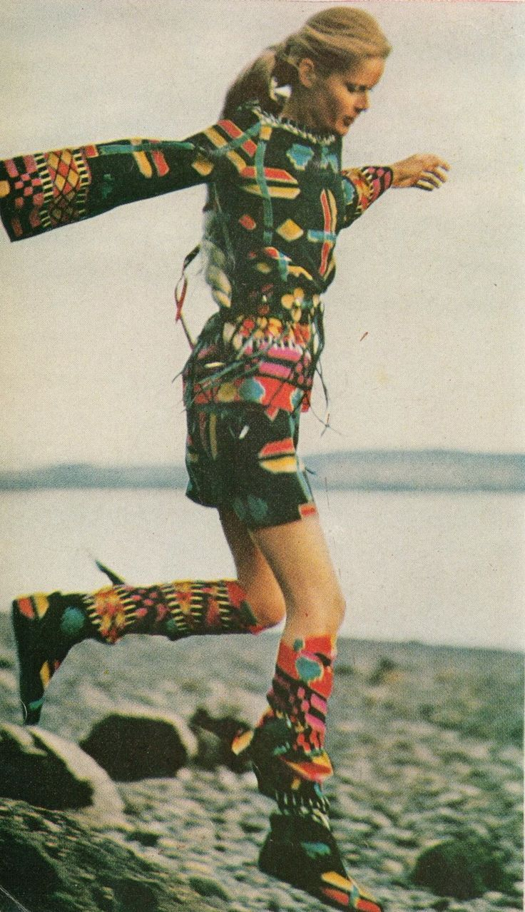 Harper's Bazaar, September 1969, outfit by Gayle Kirkpatrick, boots with leg wrappings by Herbert Levine
