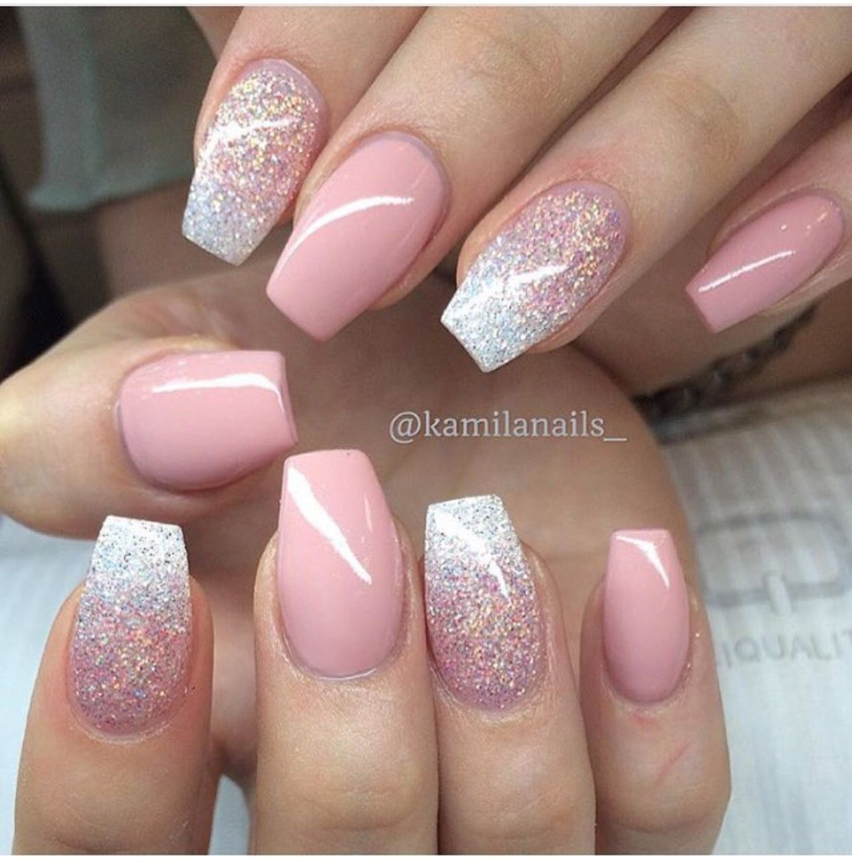 Probably My Favorite Nails Yet Ombre Pink Glitter And Flared White Tips White Tip Nails White Acrylic Nails Flare Nails