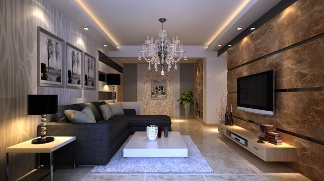 lighting ideas for living room walls: stylish salon with LED ...