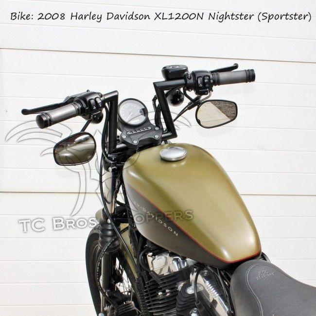 Black 1 Slant Z Handlebars Tc Bros Choppers Sportster Harley Hd Sportster