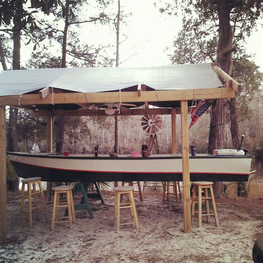 Boat Bar Made From Old Wooden Boat