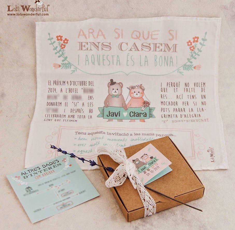 Invitaciones de boda en tela blog mi boda invitacion boda - Invitacion de boda original ...
