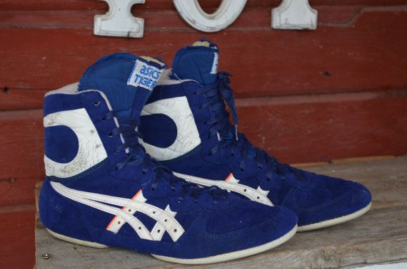 Vintage Red, White, & Blue 1980s Asics Tiger Wrestling Shoes. This pair of