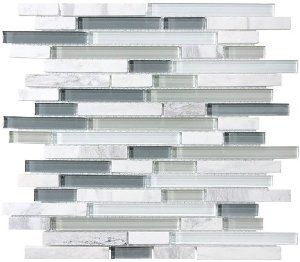 Amazing 10 Sq Ft   Bliss Iceland Marble And Glass Linear Mosaic Tiles For Kitchen  Backsplash Or