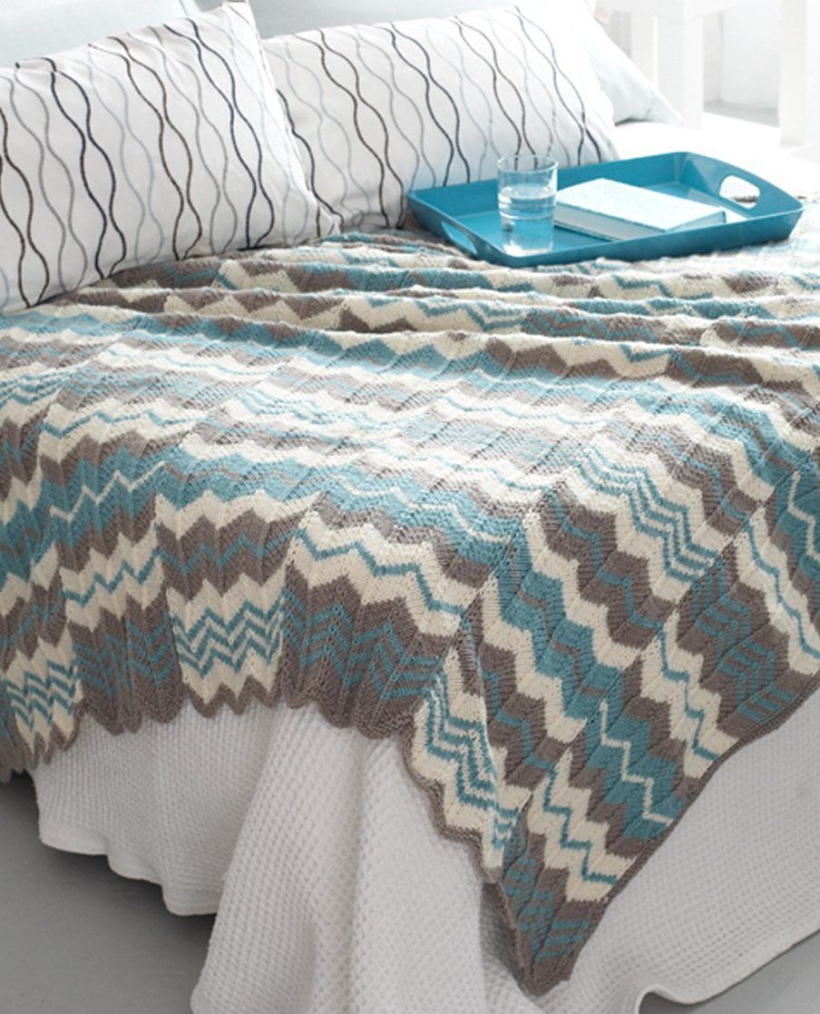 Free Knitting Pattern for Chevron Panels Afghan - This easy pattern is worked...