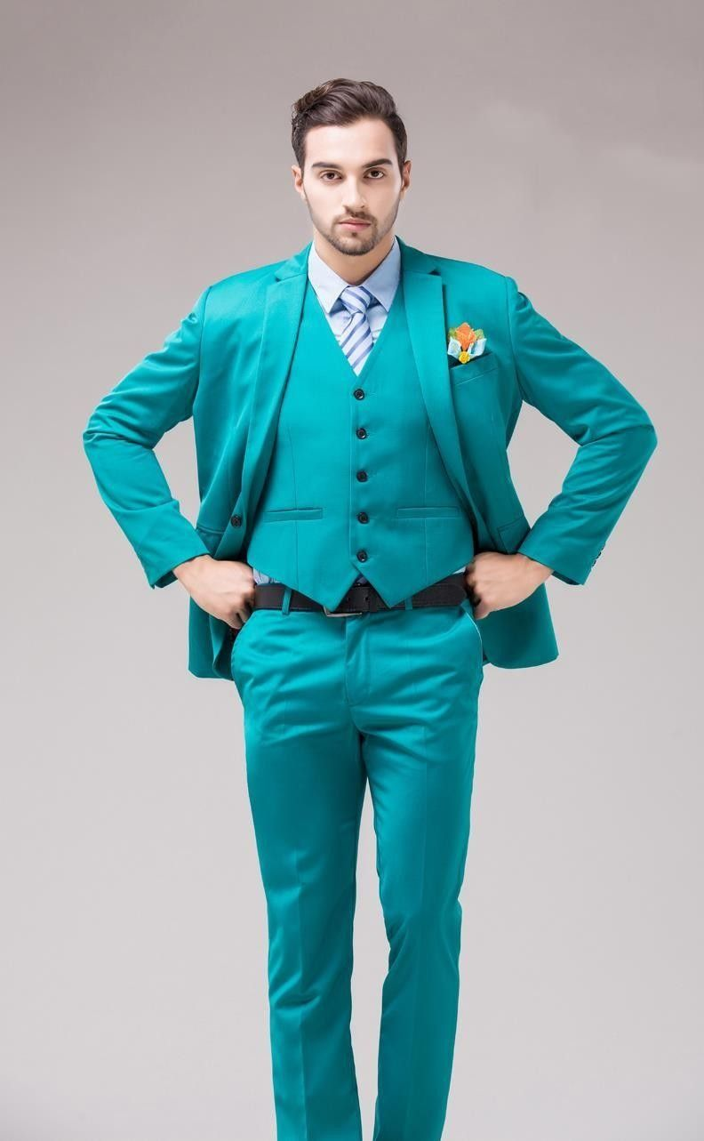Click to Buy << 2017 Latest Coat Pant Design Turquoise Green Men ...