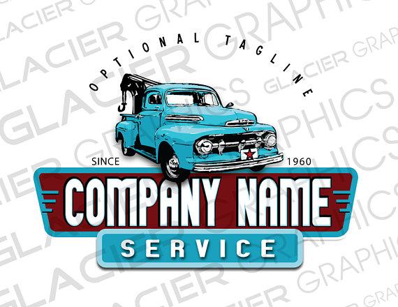 Custom Vintage Towing Company Logo Custom Auto Body Logo