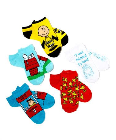 Loving this Peanuts Five-Pair No Show Socks Set on #zulily! #zulilyfinds