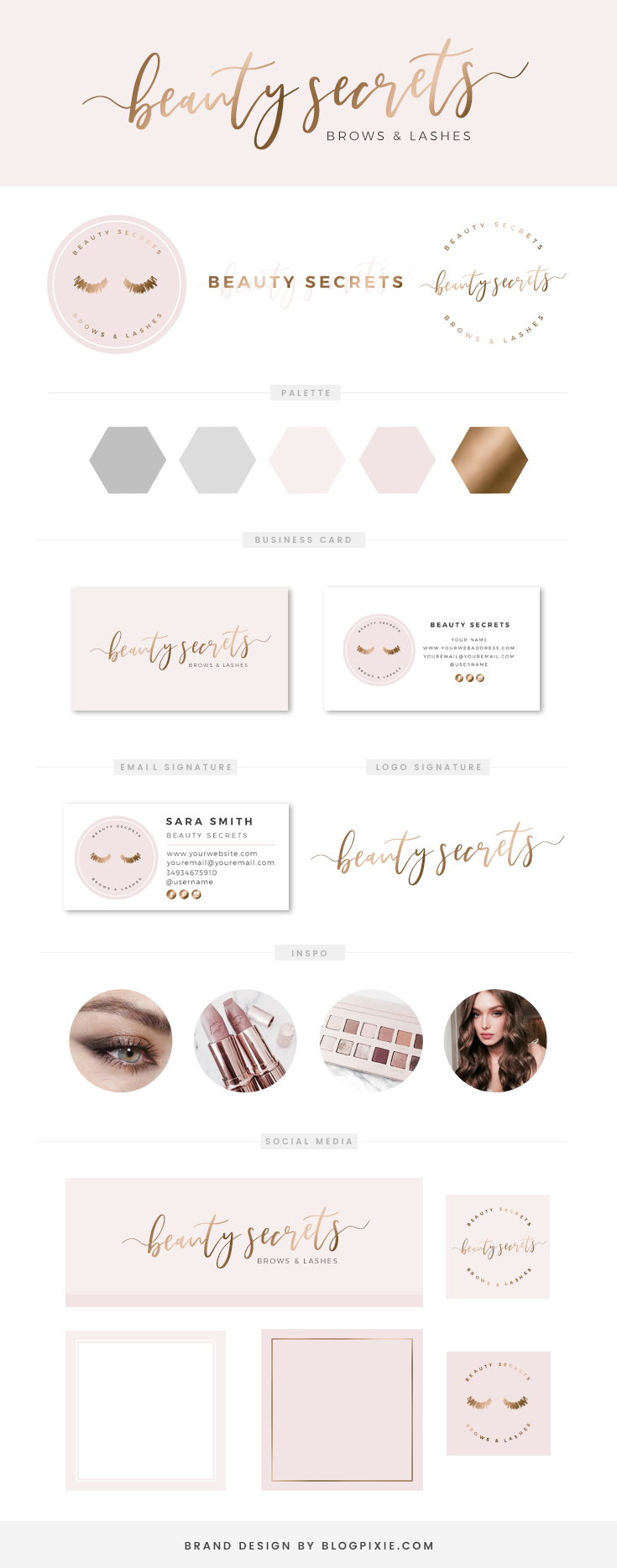 Rose gold copper logo design and branding ♡ Beauty brand