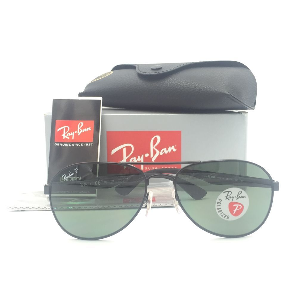 018ead9a81 New Ray-Ban RB3549 006 9A Black Aviator Sunglasses W Green Polarized Lens