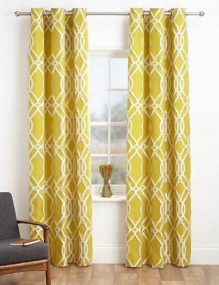 Geometric Jacquard Eyelet Curtains Geometric Curtains Printed Curtains Fabric Dining Room