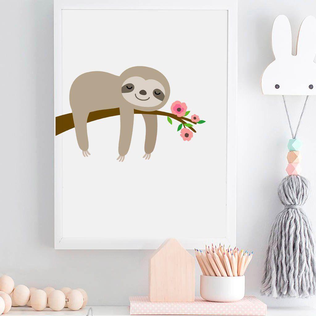 Sloth Print Hanging Sloth Art Nursery Wall Art Kids Room Etsy In 2021 Sloth Art Kids Room Wall Art Kids Room Art