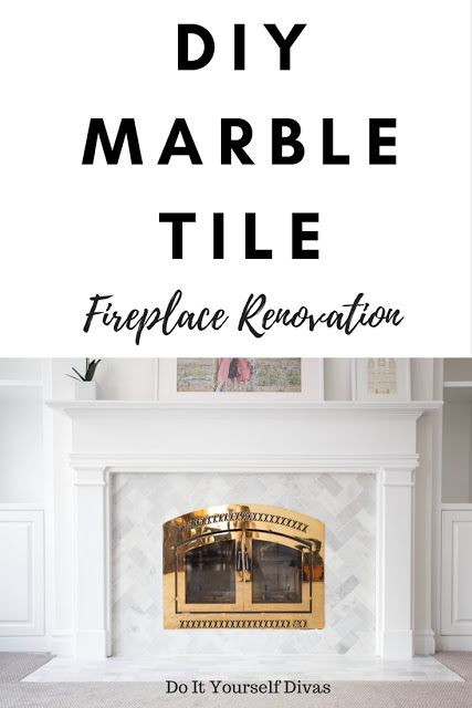 Do it yourself divas diy marble tile fireplace renovation do it yourself divas diy marble tile fireplace renovation herringbone pattern video tutorial white and gray marble with gold fireplace mantel solutioingenieria Choice Image