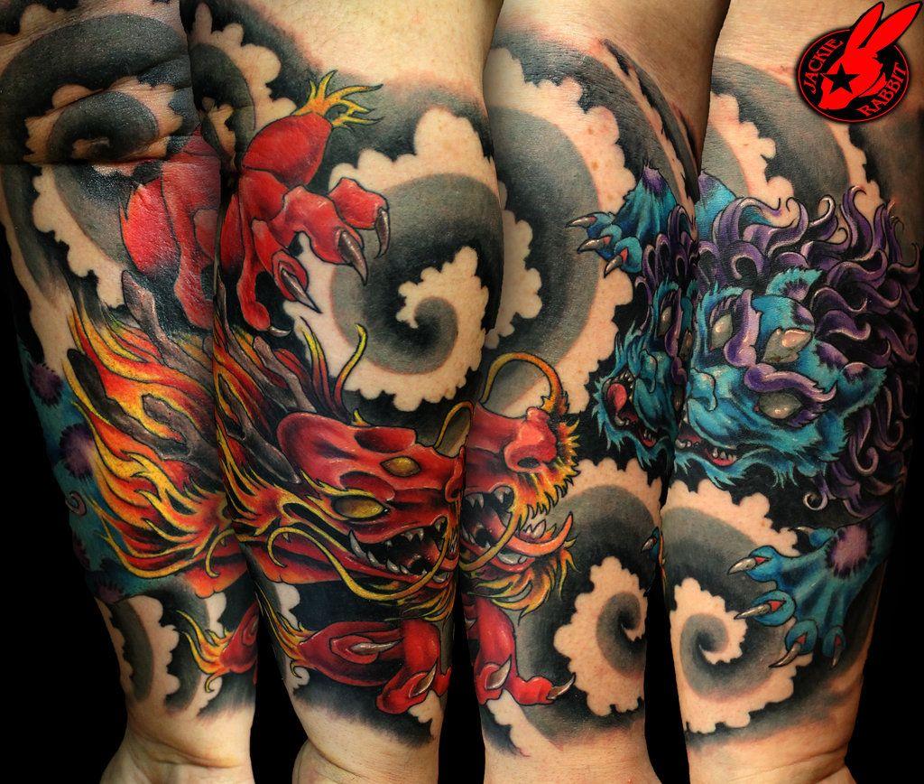 Dragon Foo Dog Tattoo By Jackie Rabbit Foo Dog Tattoo Foo Dog Tattoo Design Foo Dog Tattoo Meaning