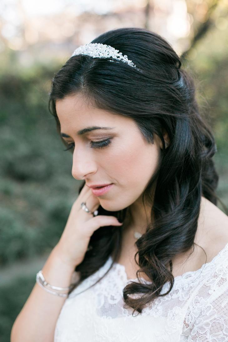 Half Up Bridal Hairstyle with Headpiece   Random - Wedding ideas ...