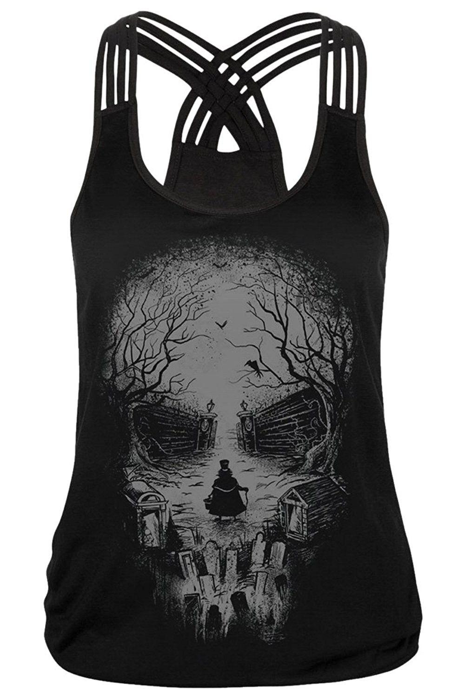 572335d2655 Women's 3D Digital Print Multi Straps Sleeveless Vest Tank Top Shirt ...