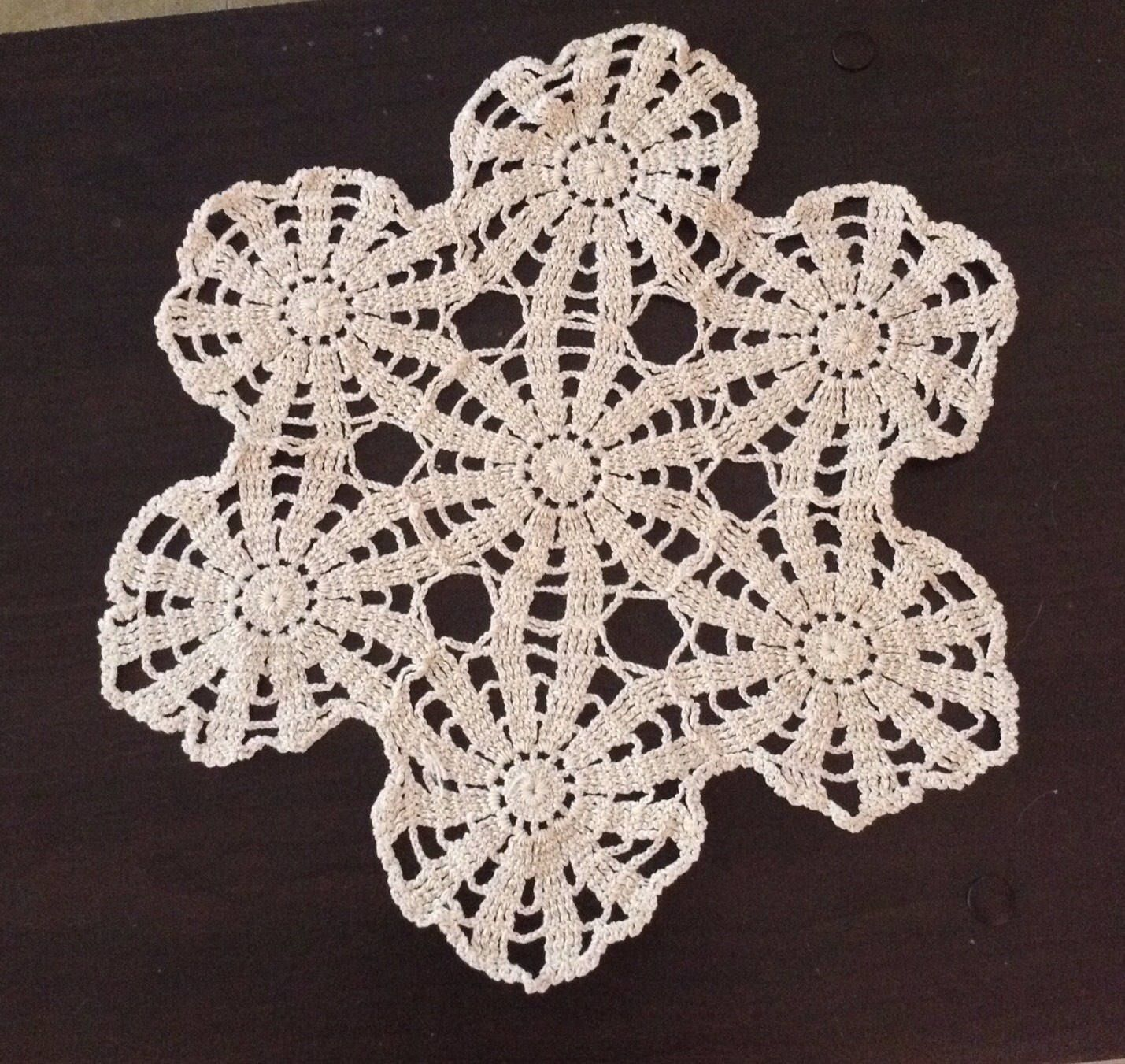 A personal favorite from my Etsy shop https://www.etsy.com/listing/512825632/vintage-tan-hexagonal-doily