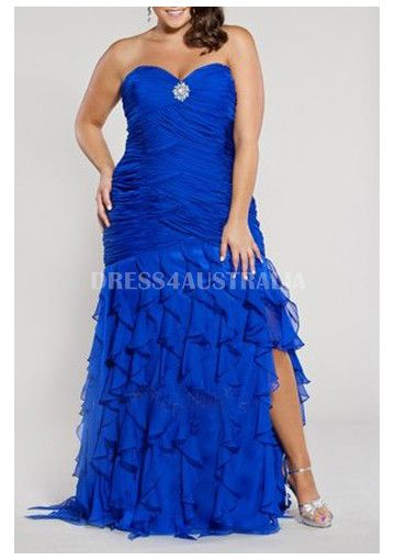 Cheap And Australia Ruched Bodice Royal Blue Ruffle Skirt Mermaid
