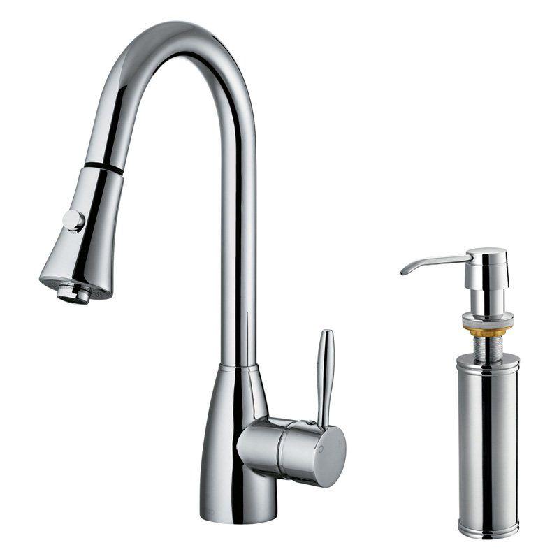 Vigo VG02013K2 Single Handle Pull Down Kitchen Faucet with Soap ...