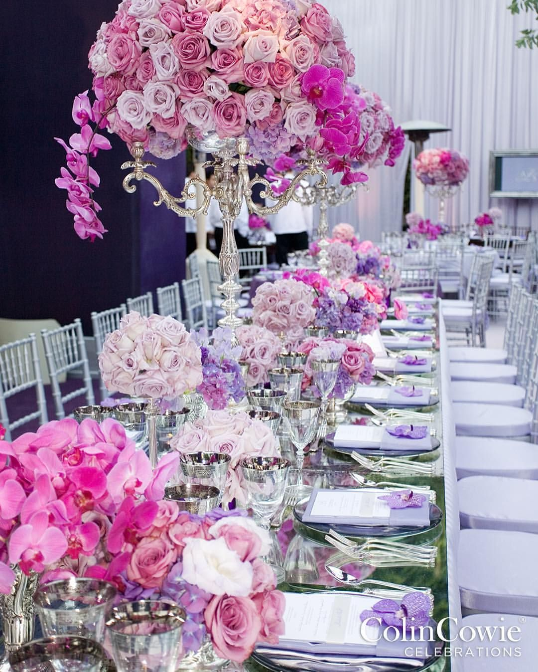 Pretty in pink and purple! How fab are these arrangements of roses, hydrangeas, and orchids?